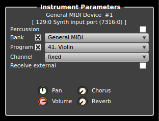 Rosegarden's instrument parameter box for a MIDI instrument