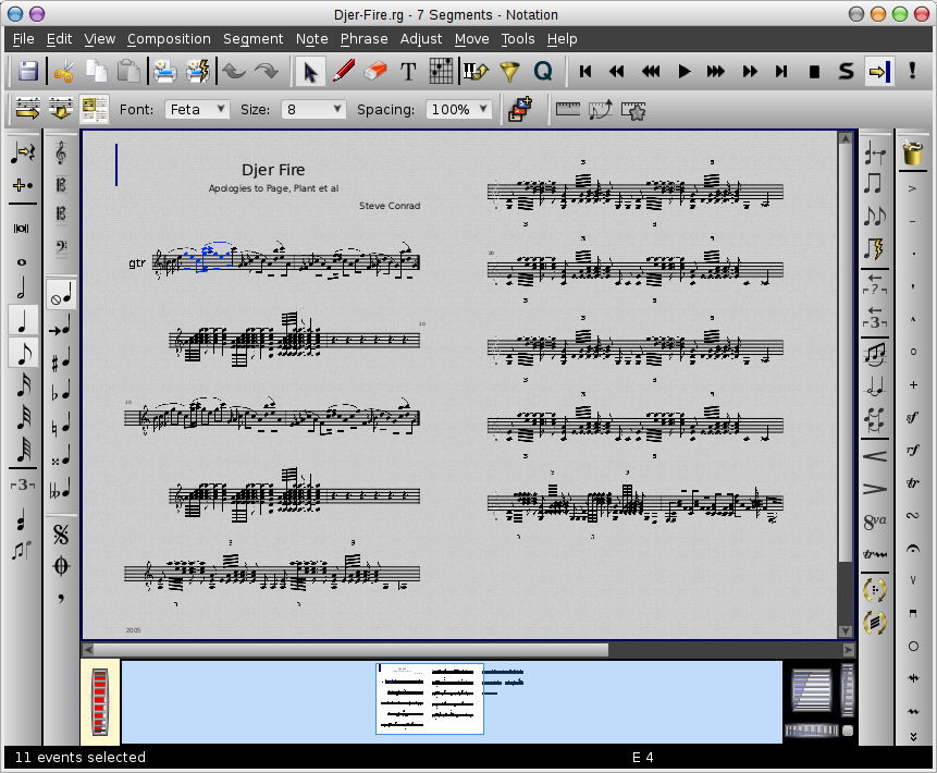 Rosegarden's notation editor in Multiple Page layout