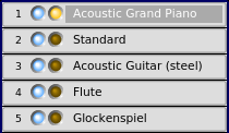 Rosegarden's Track buttons showing instrument assignments