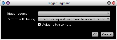 Rosegarden's Trigger Segment dialog, as reached from the matrix editor