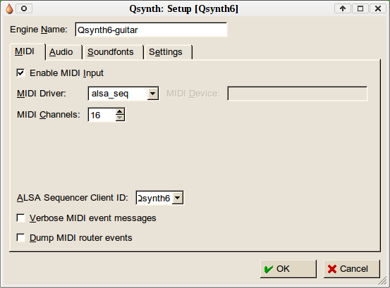 Setting up Qsynth instance
